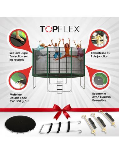 Trampoline 370 cm TopFlex  + Filet + Echelle + Bâche  + Kit d'Ancrage