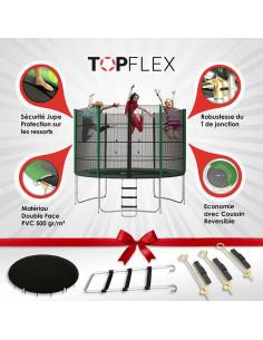 Trampoline 305 cm TopFlex + Filet + Echelle + Bâche  + Kit d'Ancrage